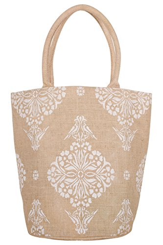 - KAF Home Jute Bucket Bag with White Indian Print, Durable Handle, Reinforced Bottom and Interior Zipper Pocket, Generous capacity, 12.5