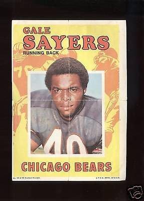1971 Topps Football Pin-Ups Gale Sayers #12 NM RARE Rare Sport Pin Football