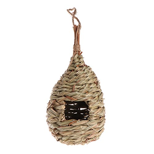 Hacloser Birds Nest Natural Grass Egg Cage Outdoor Decorative Weaved Hanging Cage Parrot ()