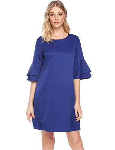 blue a line dress with sleeves - 6