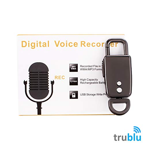 trublu Mini Digital Voice Recorder Keychain – Voice Activated Audio Recorder | Rechargeable | Dictaphone |Digital Recorder for Lectures Meetings Interviews Music (Black, 8GB)