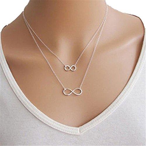 Shuohu - Gargantilla de cadena de 8 formas para mujer, diseño de infinito, Plateado, 40cm+50 cm
