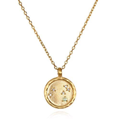 Peridot Journey Pendant - Satya Jewelry Leo Constellation Peridot White Topaz Zodiac Necklace (18-inch)