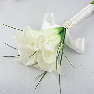 Lily Garden Large Calla Lily Bridal Wedding Bouquet (White) 1
