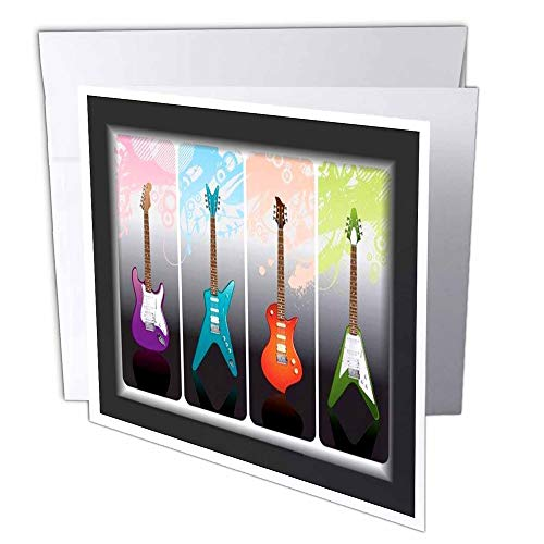 3dRose Framed 4 Heavy Metal n Rock Guitars - Greeting Cards, 6 x 6 inches, set of 6 (gc_40766_1)