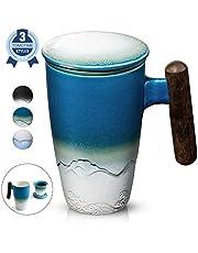 SULIVES Taza de té de cerámica con tapa y filtro, 400 ml, taza de separación de té azul oscuro