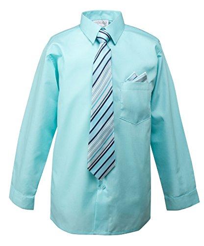 Spring Notion Boys Dress Shirt with Tie and Handkerchief Set 7 Aqua