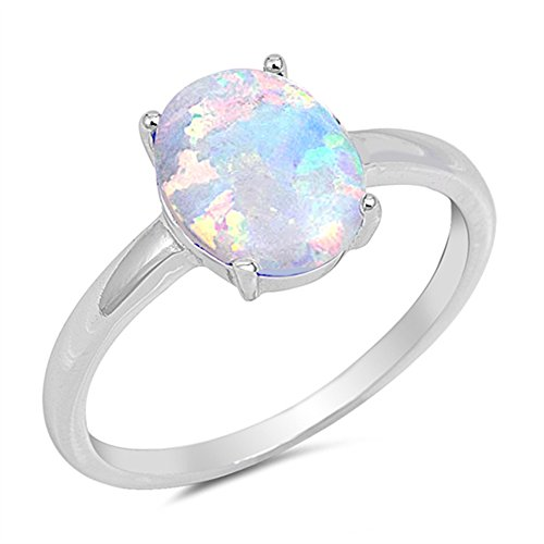 Solid Oval Lab Created White Opal .925 Sterling Silver Ring Size 7
