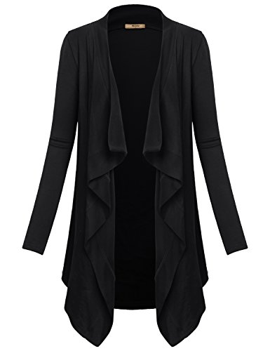 Patterned Knit Tunic (Black Cardigan,Muisey Womens Basic Feminine Vintage Lightweight Long Sleeve Cover Up Sweaters Loose Comfy Knit Patterned Stretch Gym Open Front Drape Tunic Cardigans Black-2 XXL)