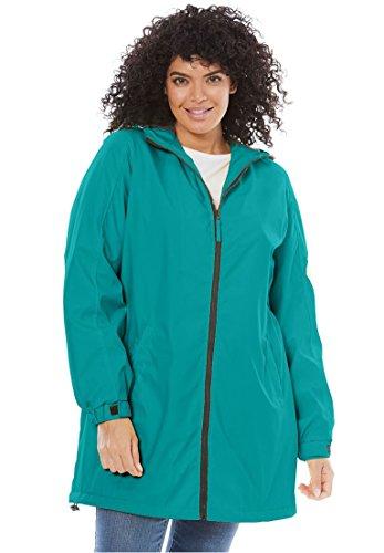 Women's Plus Size Hooded Slicker Raincoat Waterfall,L (Hood Plus)