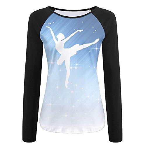 Ballet Dancer Silhouette Autumn Custom Funny Women's Long Sleeve T Shirt | Raglan - Black Wallpaper All Rugby