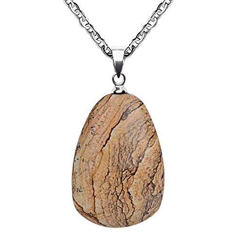 iSTONE Necklace Natural Healing Natural Picture Jasper Stone About 20 Inches Spiritual Energy for Men and Women Pendant ()