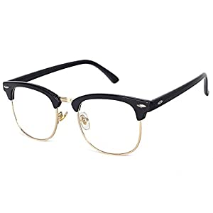 Pro Acme Classic Semi Rimless Clubmaster Clear Lens Glasses Frame (Clear)