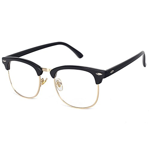 Pro Acme Classic Semi Rimless Clubmaster Clear Lens Glasses Frame - Lenses Clear