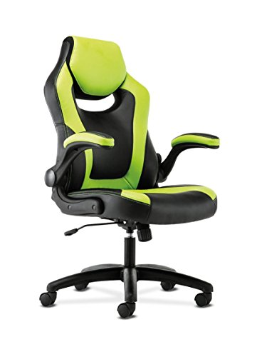 41vb5bFfghL - basyx-by-HON-Racing-Gaming-Computer-Chair-Flip-Up-Arms-Black-and-Green-Leather-HVST914
