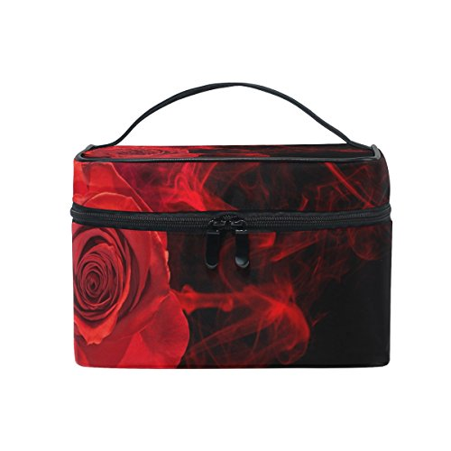 SAVSV Travel Makeup Bags With Zipper Rose In Smoke Swirl On