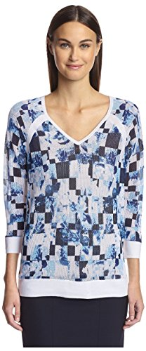 Magaschoni Women's Mesh Pullover Sweater, Summer Floral, S by Magaschoni
