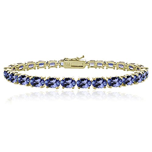 Yellow Gold Flashed Sterling Silver Tanzanite 6x4mm Oval Tennis Bracelet