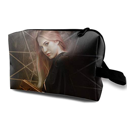 A Glamorous Witch Holding A Magic Book For Halloween Multi-function Travel Makeup Toiletry Coin Bag Case