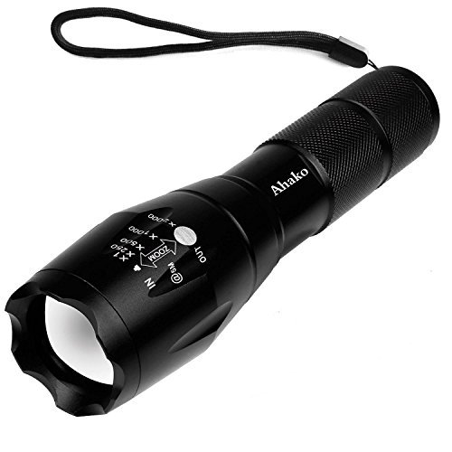 LED Tactical Flashlight,Akaho 900 Lumens Rechargeable Flashlight,Zoomable and Waterproof LED