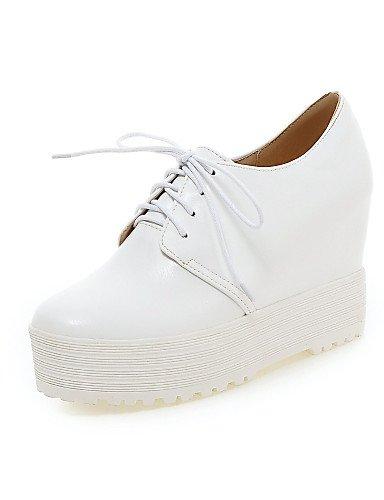 ZQ hug Zapatos de mujer - Tacón Cono - Tacones - Tacones - Oficina y Trabajo / Vestido / Casual / Fiesta y Noche - Semicuero -Negro / Blanco / , white-us6 / eu36 / uk4 / cn36 , white-us6 / eu36 / uk4 white-us6.5-7 / eu37 / uk4.5-5 / cn37