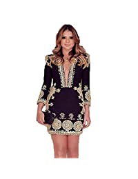 EkarLam® Women's Noble Deep V Neck Slim Fit Paisley Floral Outfit Dress