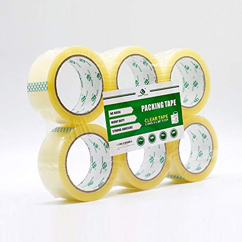BOMEI PACK Heavy Duty Packing Tape No Noise Silent Tape Clear 6 Rolls 1.88