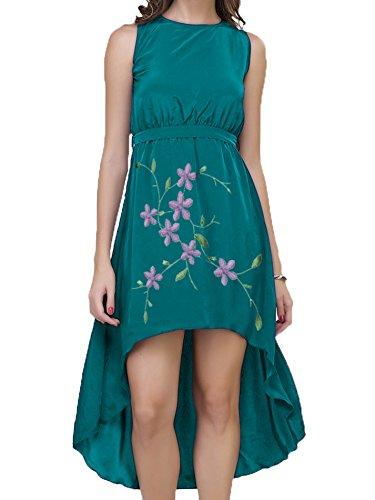 (Cotton Dip Hem Dress Embroidery With Black Pants (Green, XXS))