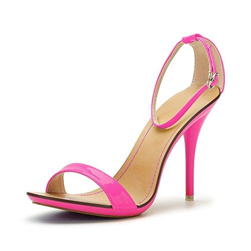 Fereshte Donna Classico Open Toe Ballerino Stiletto Tacco Alto Cinturino Alla Caviglia Sandali Rosa Fluorescente