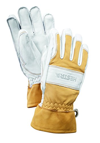 Hestra Mens and Womens Ski Gloves: Guide Leather Winter Gloves with Wool Lining, Natural Yellow/Off White, 9