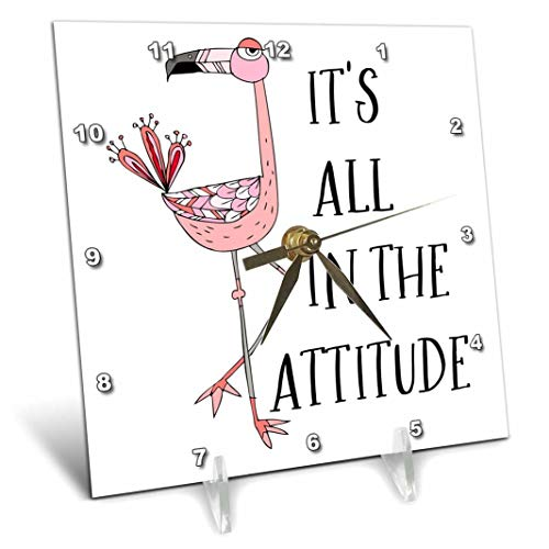 """3D Rose Its All in The Attitude with A Pink Flamingo Illustration Desk Clock 6"""" x 6"""""""