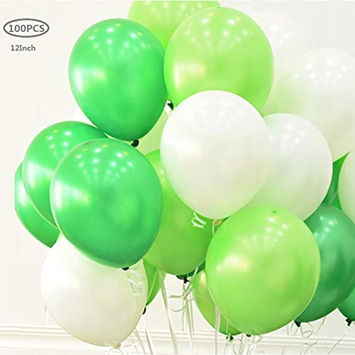 12 Inch White Green and Light Green Balloons,100 Pack Dinosaur Party Balloons 12
