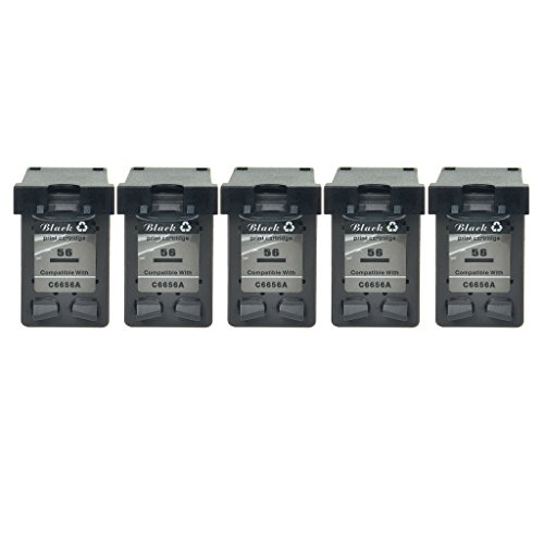 NineLeaf 5 Pack Remanufactured C6656A #56 Black Ink Cartridge Compatible For HP 56 Use in HP PSC 2200 2210 2210v 2210xi 2310 2405 2410 2410v 2410xi 2510 2510xi 2550 (Show Ink Level,High Yield) (56 Black C6656a Cartridge Inkjet)