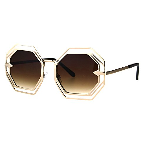 Octagon Shaped Sunglasses Womens Trendy Fashion Double Metal Frame Gold, - Octagon Frame