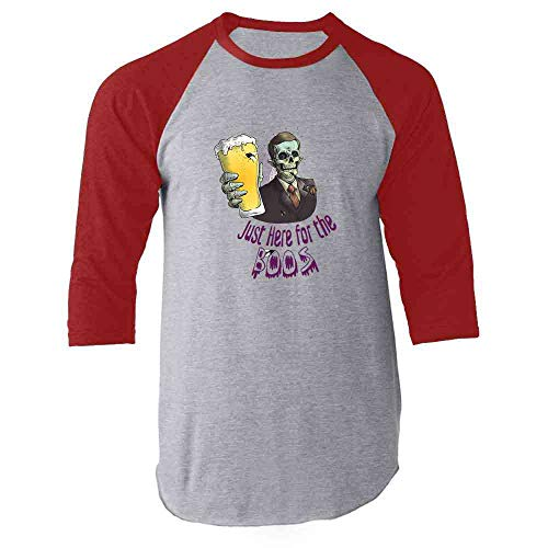Just Here for The Boos Zombie Funny Halloween Red S Raglan Baseball Tee Shirt]()
