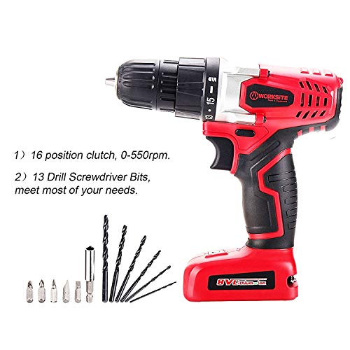Cordless Drill, 8V Cordless Electric Drill 1300mAh Li-Ion Rechargeable 16 Position Keyless Torque Clutch, Variable Speed Switch, with Drill Holster, Annular Cutter, Screwdriver Bit Set and Tool Bag