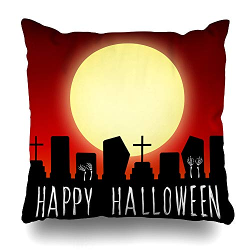LALILO Throw Pillow Covers Happy Halloween Card Halloween and Happy Halloween Quote Card Party Double-Sided Pattern for Sofa Cushion Cover Couch Decoration Home Bed Pillowcase 18x18 inch
