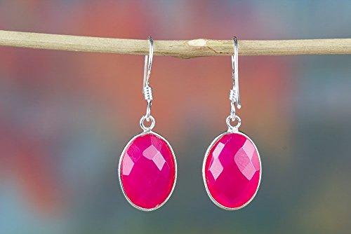 (Pink Chalcedony Earrings, Gemstone Earrings, Minimalist Earrings, pink earrings, chalcedony earrings, dangle earrings, chalcedony jewelry.)