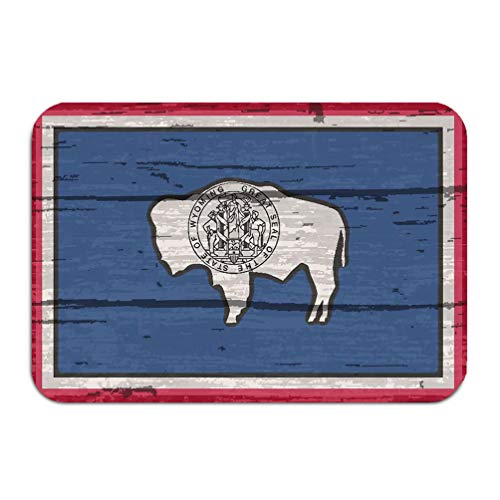 - YILINGER Place Mats Washable Fabric Placemats for Dining Room Kitchen Table Decor 23.6x15.7 Flag USA State Wyoming Wooden Background Wyoming State f