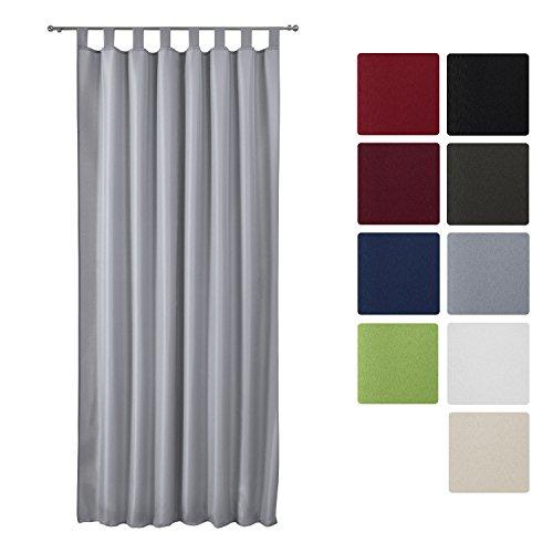 Beautissu® Blickdichter Schlaufen-Vorhang Amelie - 140x245 cm Grau Uni - Dekorative Gardine Schlaufenschal Fenster-Schal
