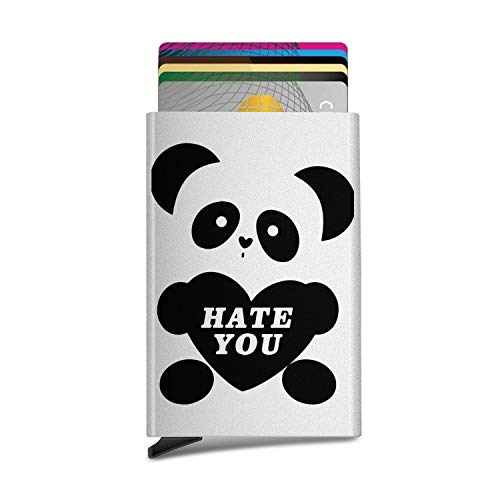Cute Panda Hug Heart Advanced Unisex Automatic Pop-Up Business Name Cards ID Card,Credit Card/Protective Cover -
