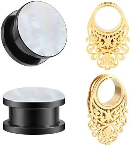 8g-58 Large Gold Hexagon Lightweight Hoop Drop Dangle Earrings GaugesEarplugs Hider Plugs 16mm