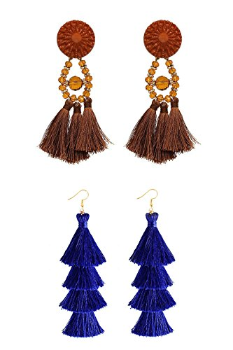 Q&S Jewels Fashion Handmade Bohemian Statement Chandelier Brown Tassel Earrings Stud and Royal Blue Tiered Thread Tassel Drop Dangle Earring 2 Pairs
