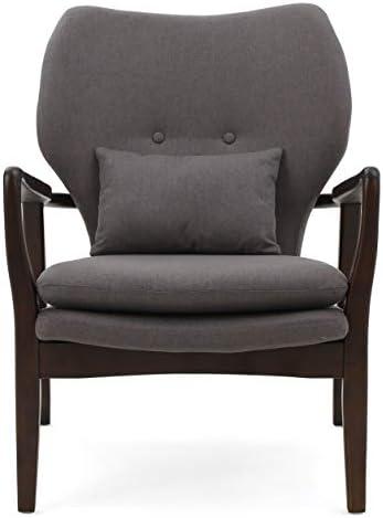 Christopher Knight Home Haddie Wood with Fabric Club Chair, Dark Grey Dark Espresso Finish