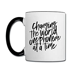 SLP Change The World Phoneme Contrast Coffee Mug by Spreadshirt, white/black