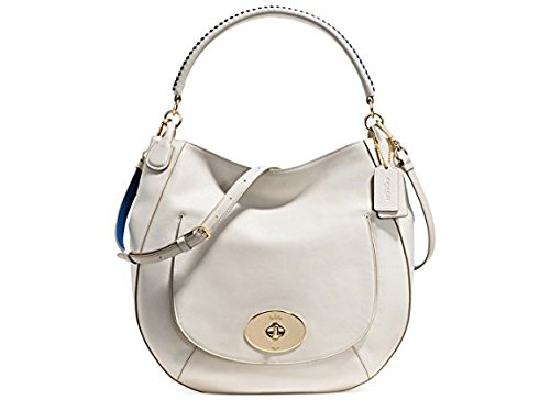 Whiplash Handbag Chalk Coach Lacing in Denim Leather 35409 Circle Pop Hobo wXw7zx4q0