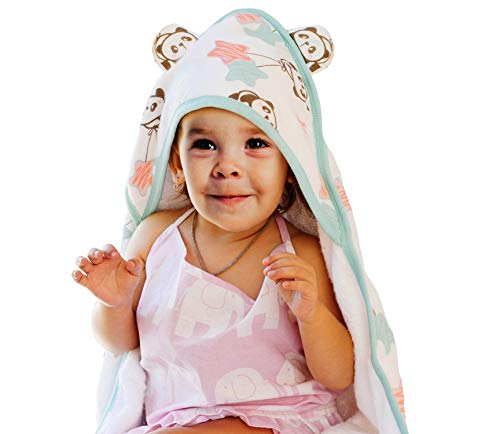 (Malino Premium Baby Hooded Bath Towel | Organic Soft Bamboo | Double Sided | Highly Absorbent Breathable and Hypoallergenic | Perfect Baby Shower Set | 35x35-Inch for Newborns Infants Toddlers, Unisex)