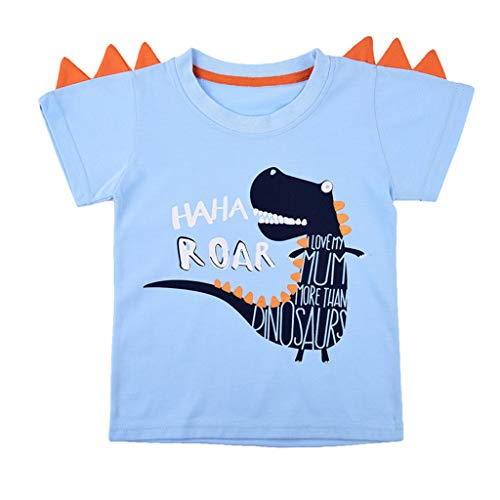 (Youmymine Toddler Kids Baby Boys Girls T-Shirt Newborn Clothes Short Sleeve Cartoon Beach Party Tops (18-24Months, Light Blue))