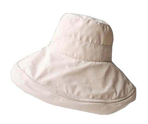 Alien Storehouse [Beige] Lady Foldable Sun Hat Elegant Top Hat Dress Hat Beach Hat by Alien Storehouse