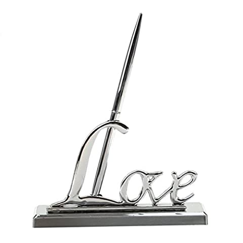 Shoppingmoon Wedding Day Collection Sign Pen with Silver Plated Love Holder Party Pen Set (Silver) - Silver Wedding Collection